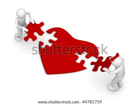 Love is a hard puzzle (love, valentine day series; 3d isolated characters) - stock photo