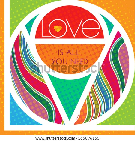 LOVE is all you need. Imitation of stained glass where the word LOVE separates shapes of bright, vibrant colors and textures. - stock photo