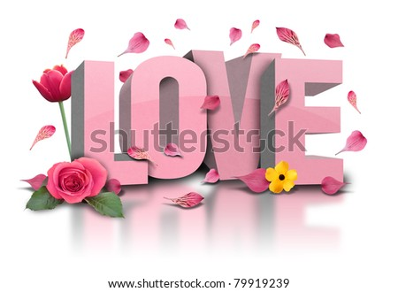 love is in 3d letters with flower on a white, isolated background. Rose petals are falling and there is a tulip. - stock photo