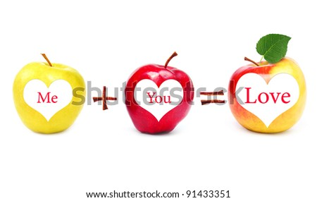 Love - is me and you. Love equation. - stock photo