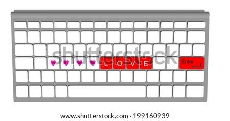 Love label on modern keyboard computer, raster photo - stock photo