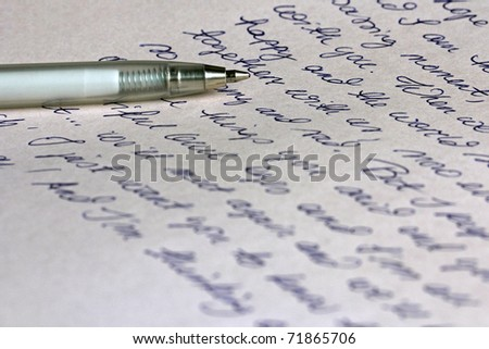 Love Letter and Pen - stock photo