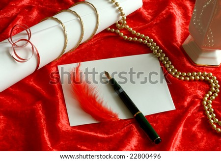 love letter and red ornament