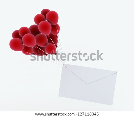 Love letter with balloon - stock photo