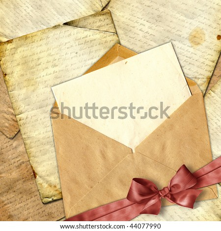 Love letter with flower on paper background. - stock photo