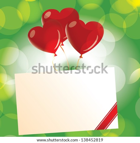 Love letter with heart balloon - stock photo