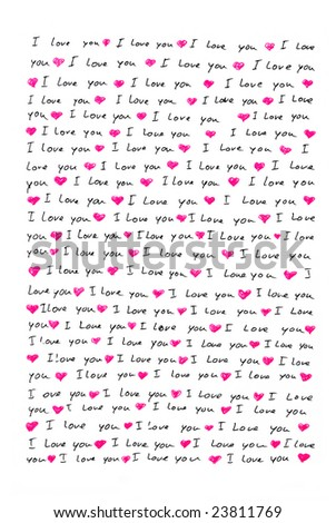 love letter written by hand - stock photo
