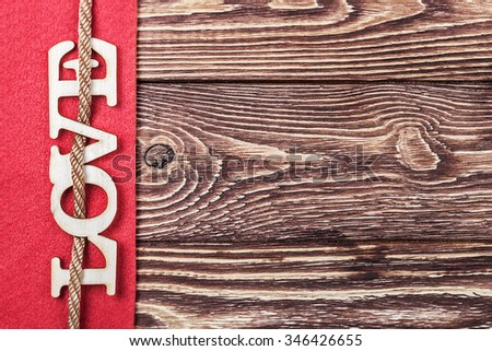 love letters carved from plywood. Can be used for Mother's Day or Valentine's Day - stock photo