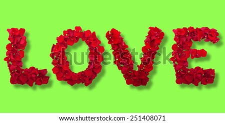 Love letters from petals of red roses on white background isolated horizontally. Flowers panorama - stock photo