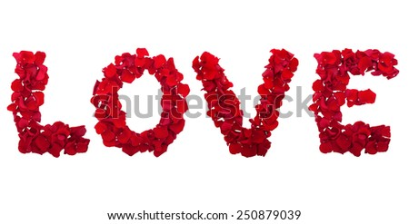 Love letters from the petals of red roses on a white background isolated horizontally. panorama - stock photo