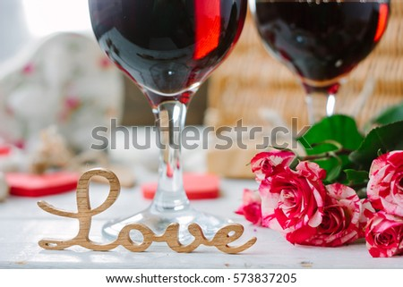 love letters on wine background on valentines day celebration