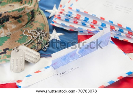 Love letters to deployed soldier - stock photo