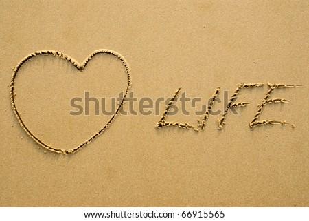 Love Life - written on a sandy beach - stock photo