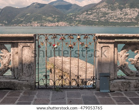 Love lockers in Iseo Village at lake Iseo in Italy