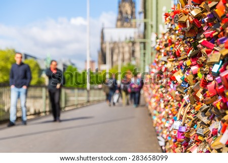 Love Locks on the Hohenzollern Bridge at cologne in germany - stock photo