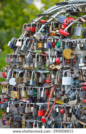 Love Locks, symbol of eternal love in Odessa, Ukraine. - stock photo