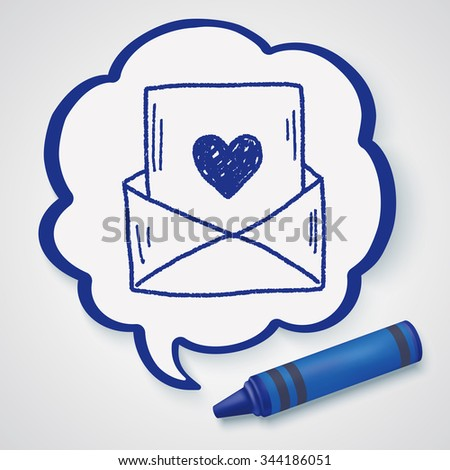love mail doodle - stock photo