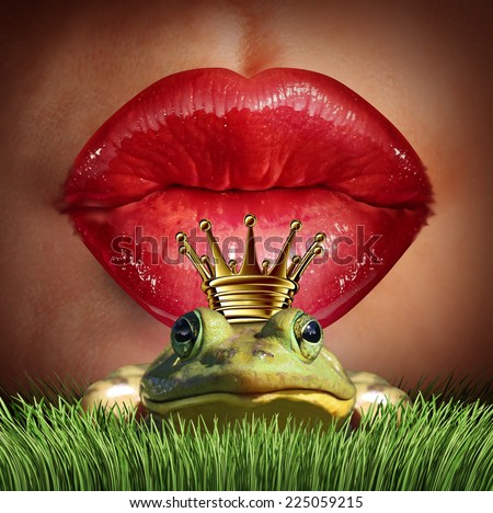 Love Match and finding prince charming  or mr right concept as female lips getting ready to kiss a frog prince wearing a crown as a metaphor for finding romance and relationship online dating symbol. - stock photo