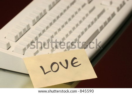 love message on the keyboard - stock photo