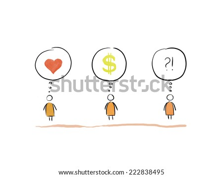 Love, Money and Question thinking man comics. Love, Money worries or wishes concept. - stock photo