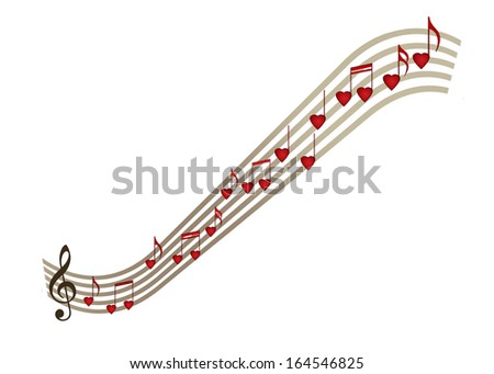 Love music heart notation, notes over white background