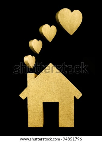 love my home, golden house with gold heart shapes as smoke from the chimney - stock photo