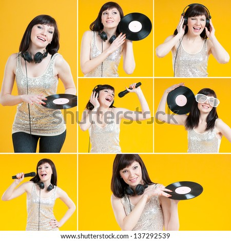 Love of music, collage: charming caucasian female singing with mike, listening to music and posing with a vinyl record - stock photo