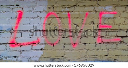 Love on a wall - stock photo