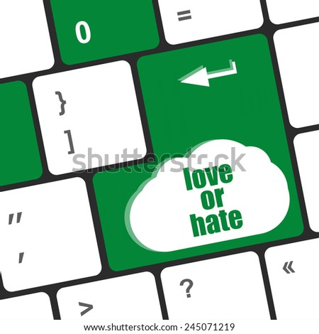 love or hate relationships communication impressions ratings reviews computer keyboard key, - stock photo