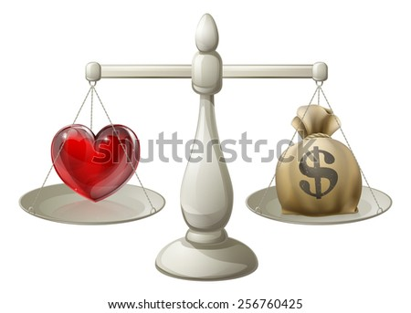 Love or money concept with love heart being weighed against money sack on scales - stock photo