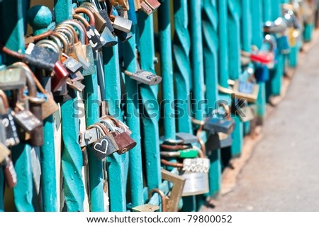 Love padlocks - just married tradition in Wroclaw, Poland - stock photo