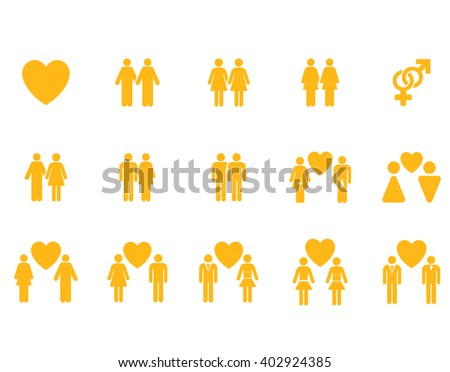 Love Pairs raster icon set. Style is yellow flat symbols isolated on a white background.