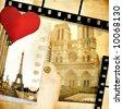 Love Paris - vintage photo-album - stock photo