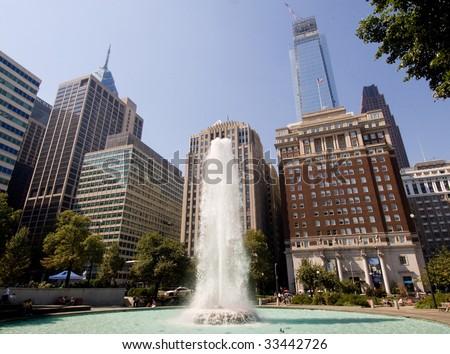 LOVE Park fountain and city skyline - stock photo