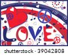 Love Peace and Hearts in Red White and Blue - stock photo