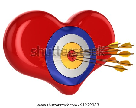 Love 700 percents. Heart as target pierced by seven Cupid's arrows. Isolated on white. This is a detailed 3D render (Hi-Res)