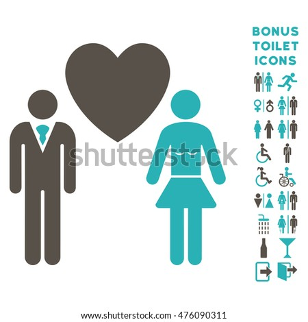Love Persons icon and bonus man and lady lavatory symbols. Glyph illustration style is flat iconic bicolor symbols, grey and cyan colors, white background.