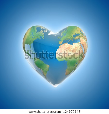 love planet 3d concept - heart shaped earth - stock photo