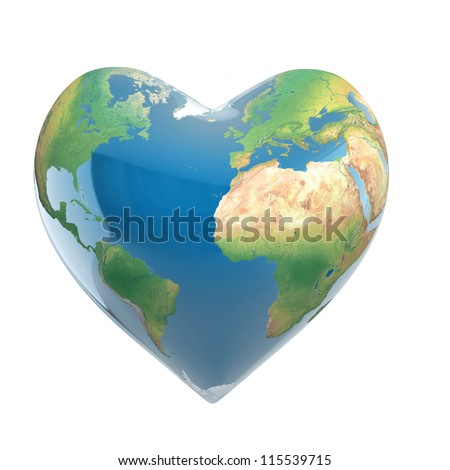 love planet 3d concept - heart shaped earth isolated on white - stock photo