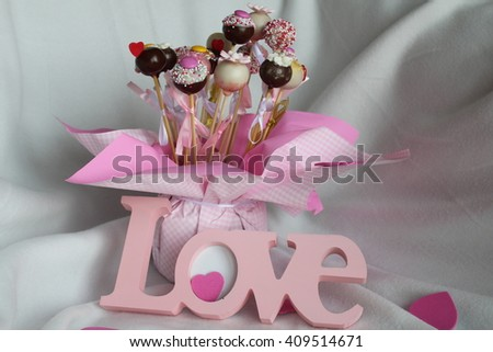 Love pop cakes - Stock Image.