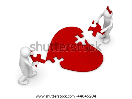 Love = puzzle (love, valentine day series; 3d isolated characters) - stock photo