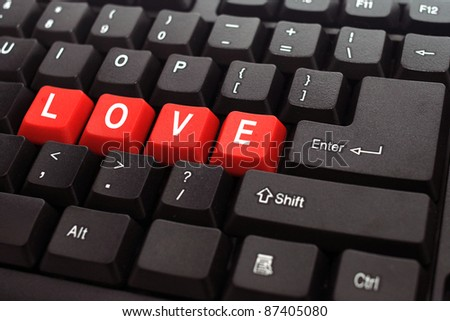 love red button word on black keyboard