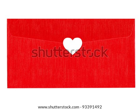 Love red letter with white heart - stock photo