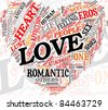 Love related words concept in tag cloud of heart shape - stock vector