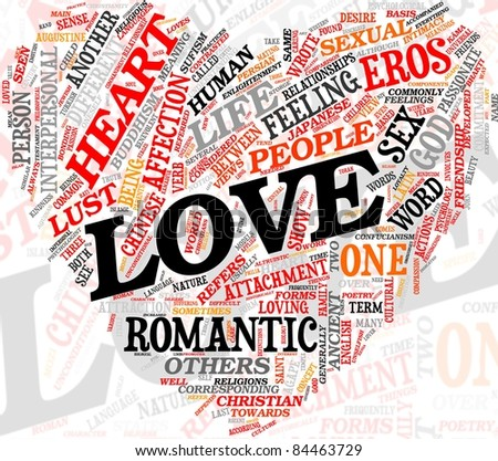 Love related words concept in tag cloud of heart shape - stock photo