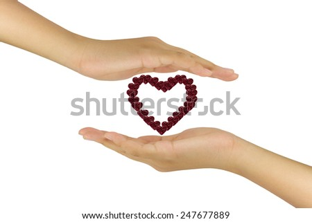 Love relation concept with the heart flower in between hand two hand - stock photo