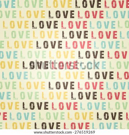love retro colors seamless pattern - stock photo
