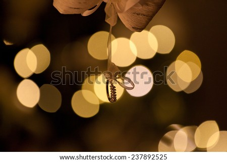 love, romance, marriage, jewelry concept - wedding ring. Christmas holiday and New Year.  - stock photo