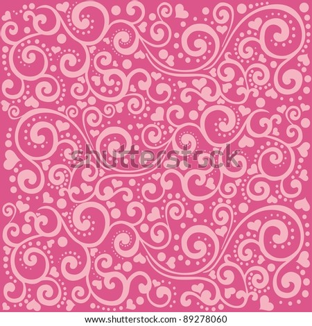 love seamless pattern. Abstract heart background in pink. Happy valentine day decor. Illustration