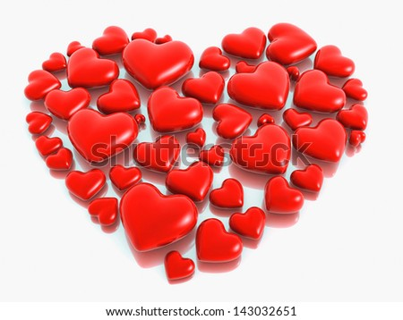 Love shape stone valentine design 3d illustration - stock photo